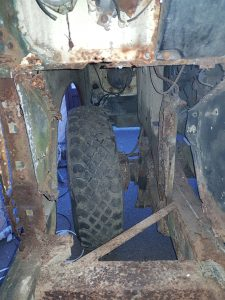 Land Rover Series Starting to remove the old footwell and door pillar