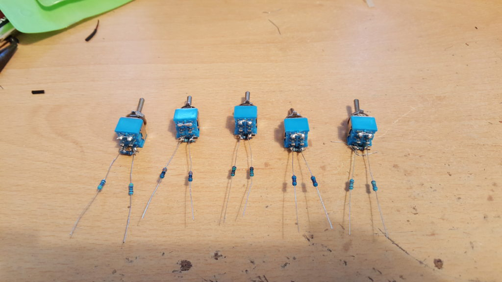 Image of the assembled switches for the Switched Attenuator