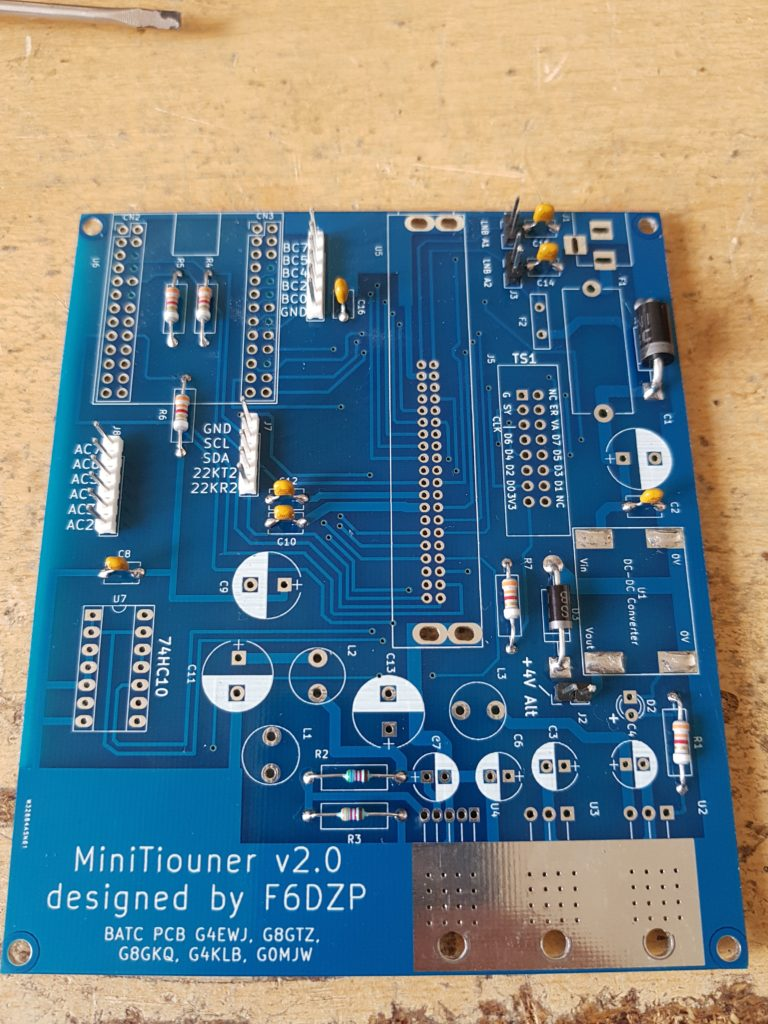 MiniTiouner V2 PCB Diodes and Headers