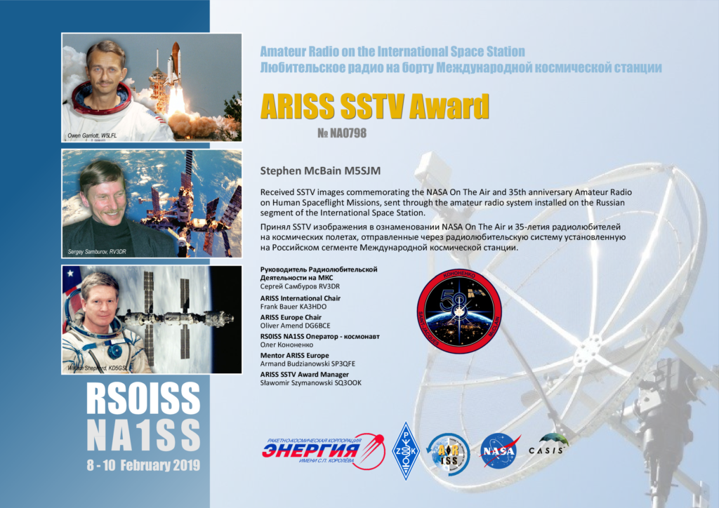 ISS SSTV 10th Feb 2019 - Amateur Satellites - McBainsite