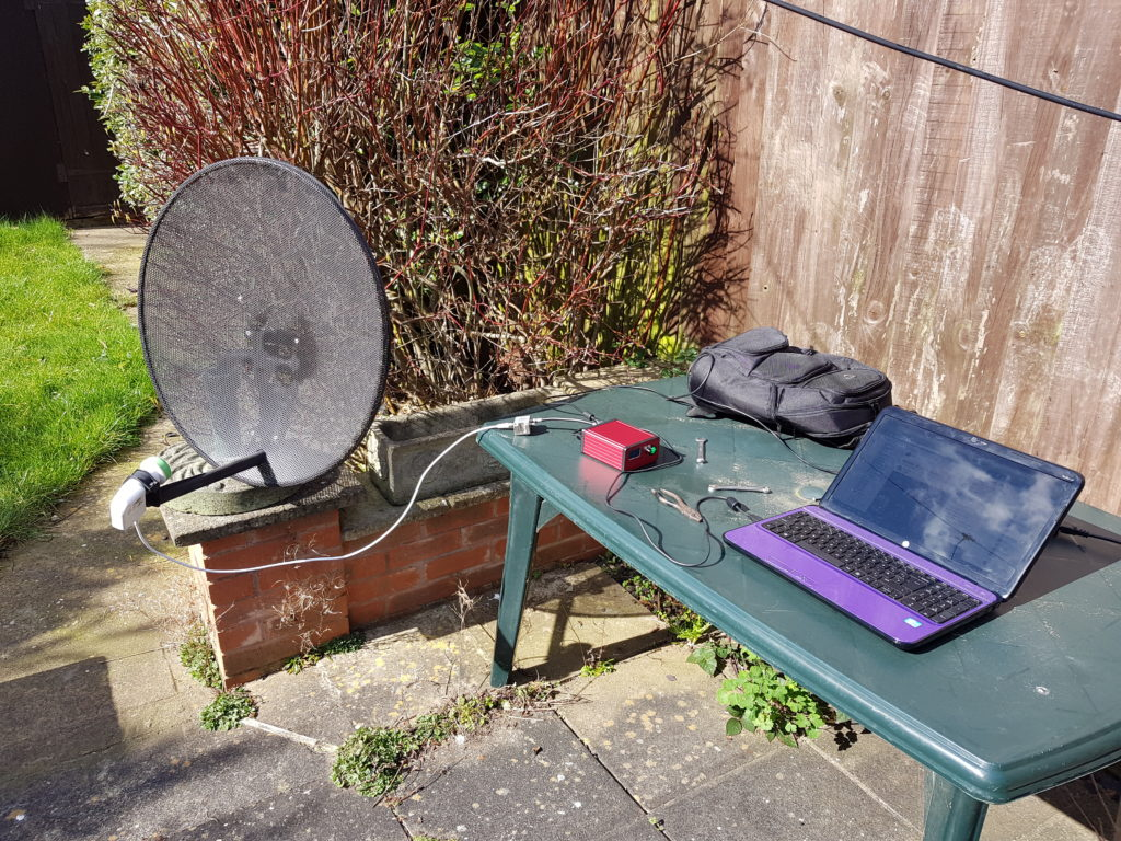 Testing setup of new dish