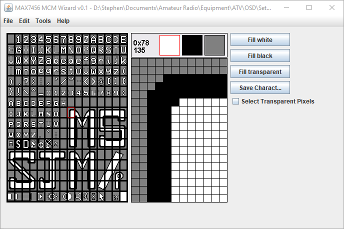 MAX7456 MCM Wizard Edit Font File for the MinimOSD for ATV