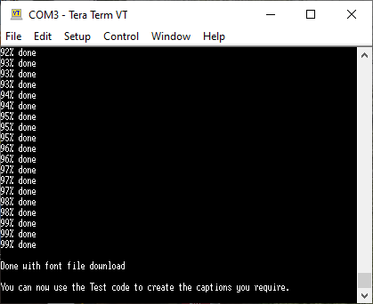 Tera Term Software. Sending completed