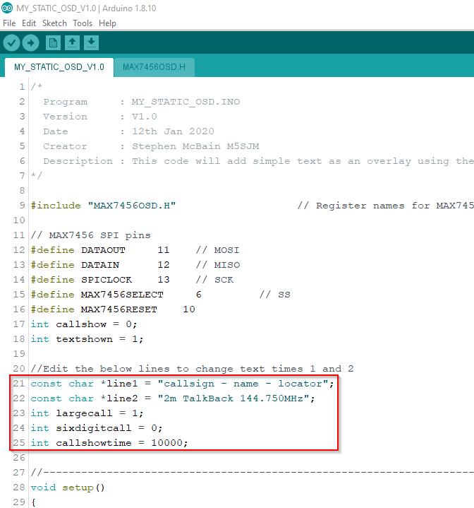 Arduino IDE My Static OSD Setup and uploading